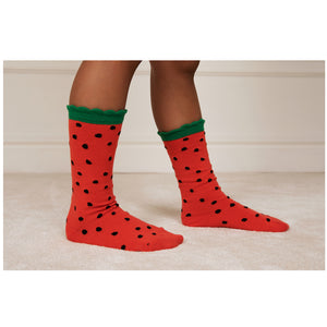 Strawberry Scallop Socks by Mini Rodini