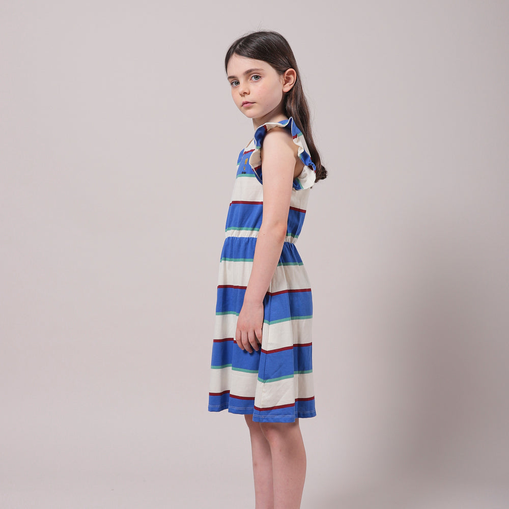Stripes Jersey Ruffle Dress by Bobo Choses
