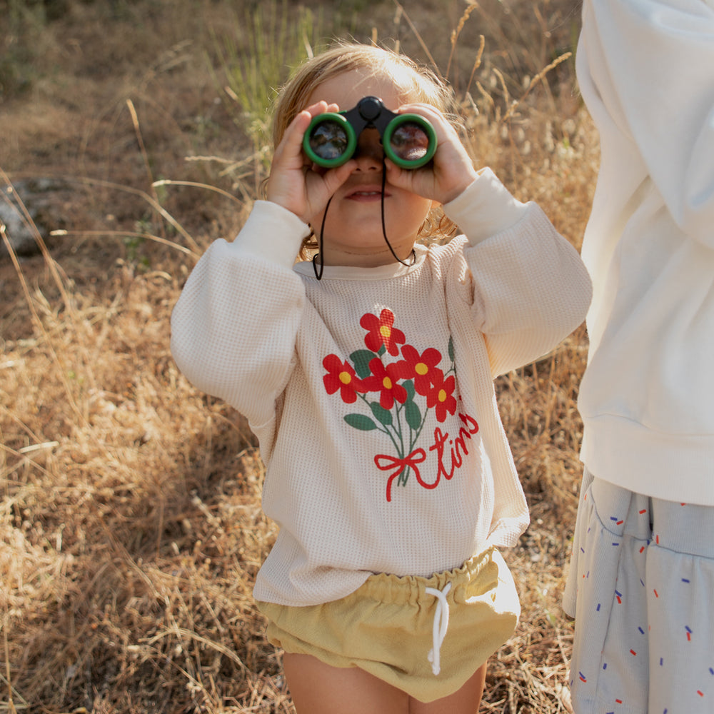 Load image into Gallery viewer, Tiny Bouquet Baby Waffle Sweatshirt by Tinycottons