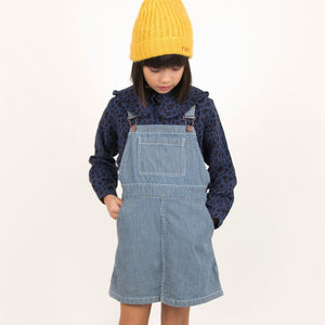 Stripes Denim Overall Dress by Tinycottons