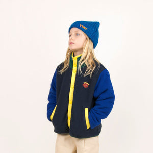 Color Block Polar Jacket in Navy and Blue by Tinycottons
