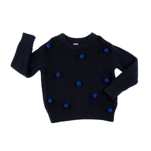 Dark Blue Pom Poms Oversized Sweater by Tinycottons