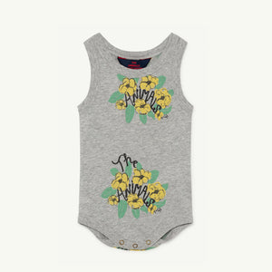 Turtle Baby Bodysuit in Grey Flowers by The Animals Observatory