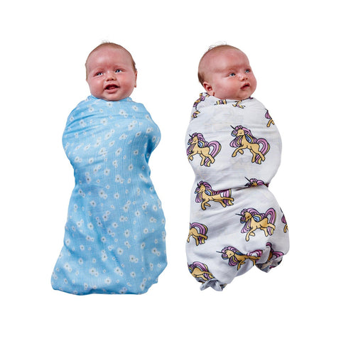 Unicorn and Lazy Daisy 2 Piece Swaddle Set by Kip and Co