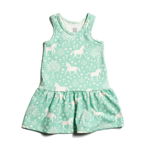 Unicorn in Magical Forest Mint Valencia Dress by Winter Water Factory