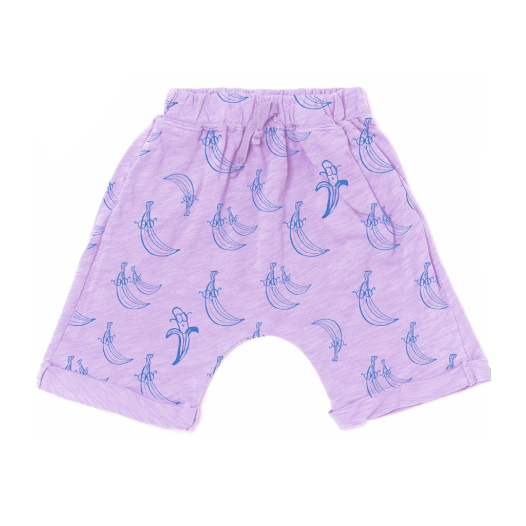 Violet Lounge Shorts in Bananas Print by Kira Kids