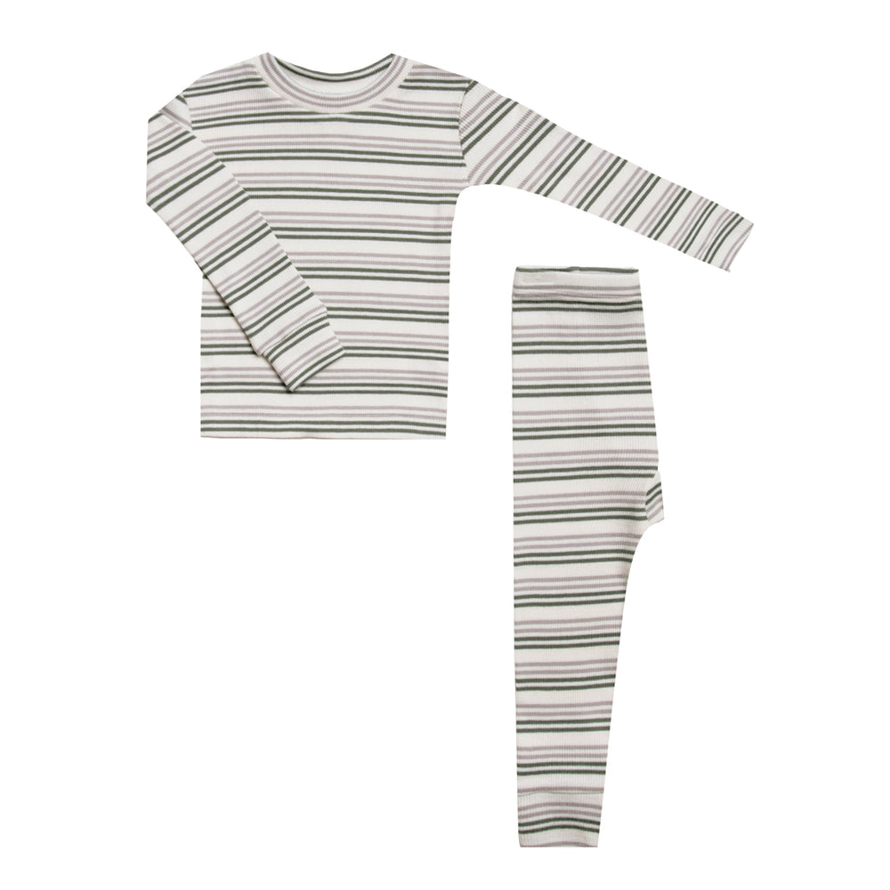Forest / Warm Grey Striped Brushed Pajama Set by Rylee and Cru