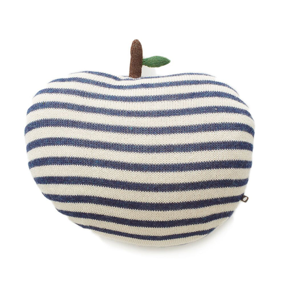 White/ Indigo Apple Pillow Large by Oeuf