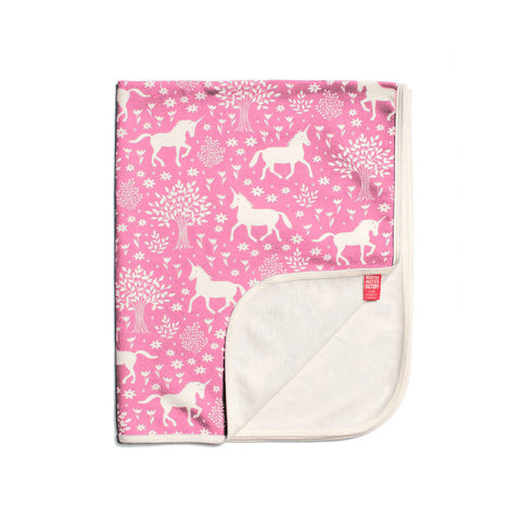 Unicorn in Magical Forest Pink Baby Blanket by Winter Water Factory
