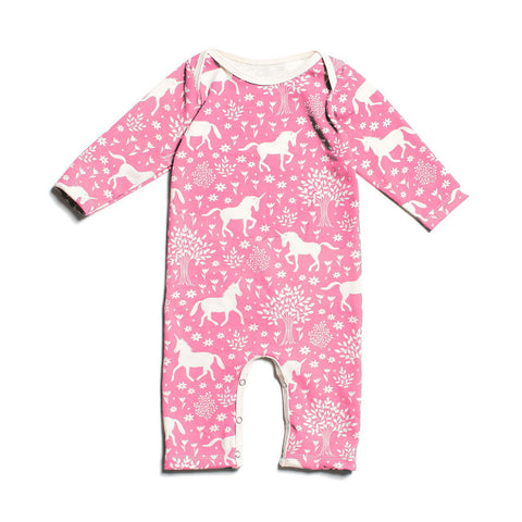 Unicorn in Magical Forest Pink Long Sleeve Baby Romper by Winter Water Factory