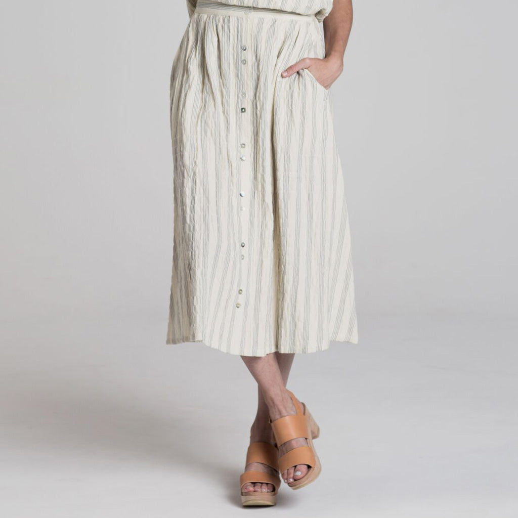 Women's Button Down Stripe Maxi Skirt by Rylee and Cru