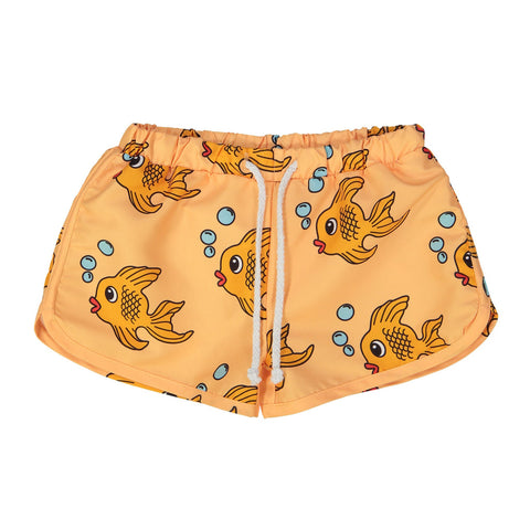Yellow Fish Swim Trunks by Hugo Loves Tiki