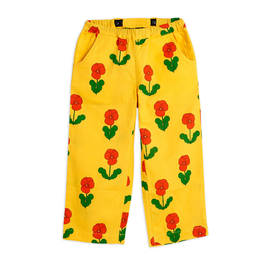 Yellow Violas Woven Trouser by Mini Rodini
