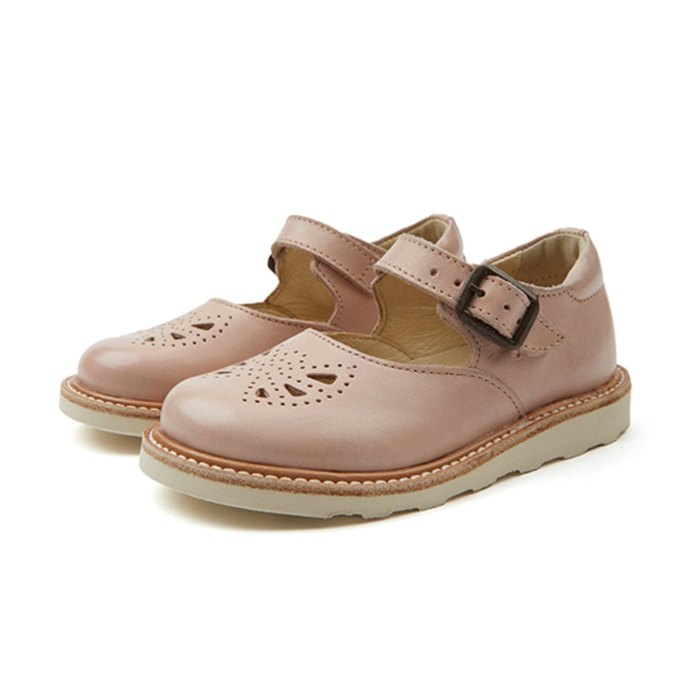 Bow Mary Jane Shoe in Nude Pink by Young Soles