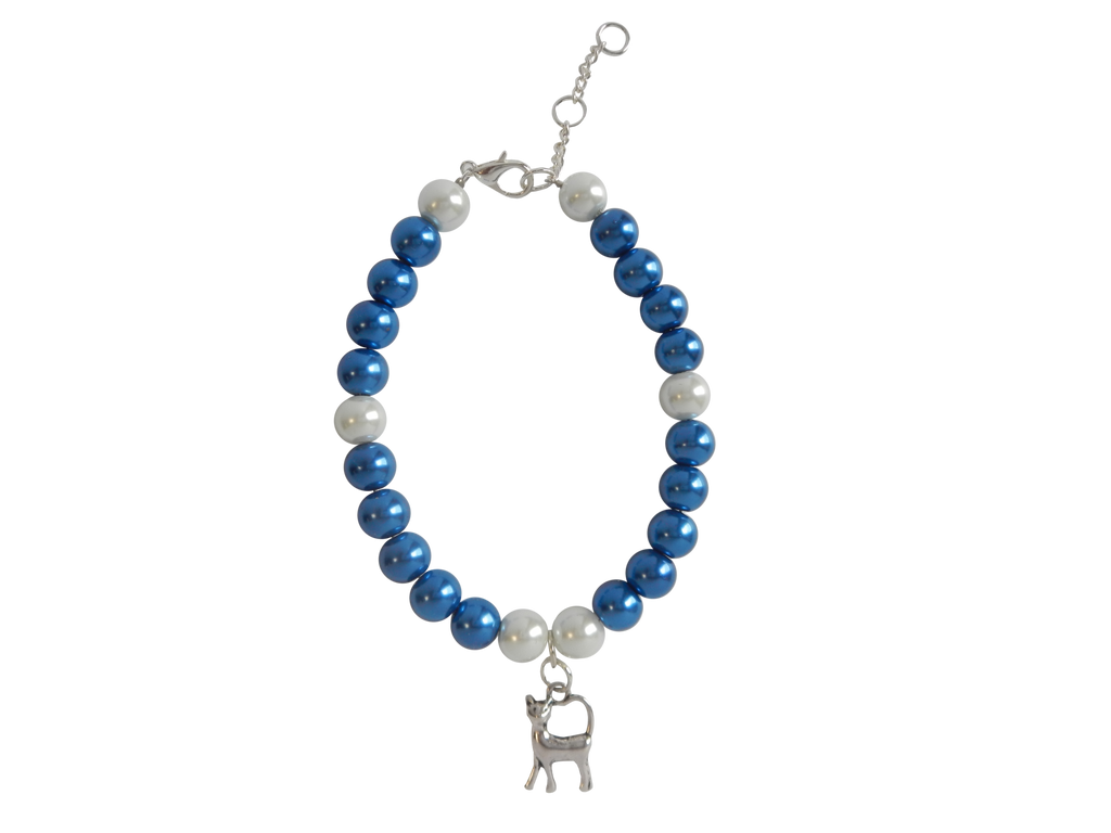Blue & White Pearl Bracelet with Cat Charm