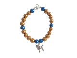 Gold & Blue Pearl Bracelet with Poodle Charm
