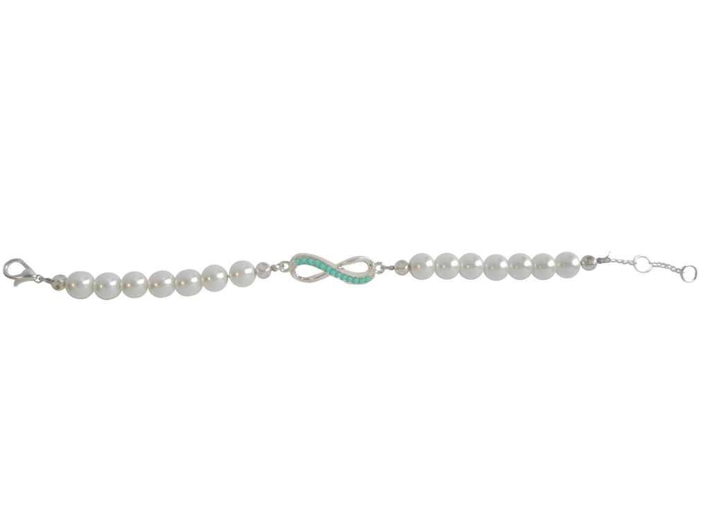Classic Pearl Bracelet with Silver Plated Infinity Charm