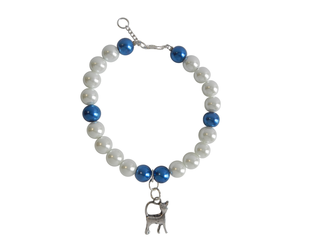 White & Blue Pearl Bracelet with Cat Charm