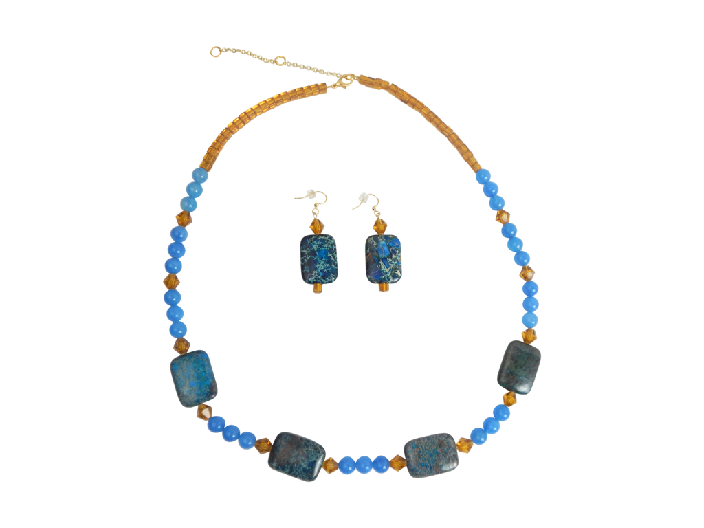 Marble Blue and Citrine Necklace and Earrings Set