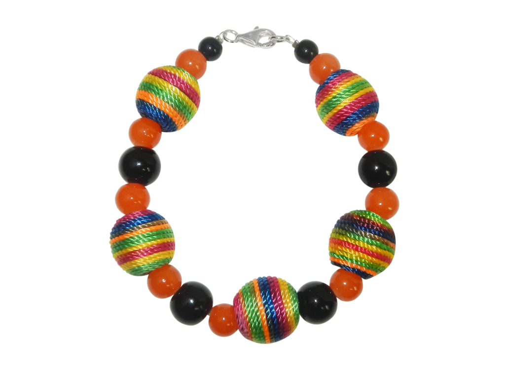 Vibrant Multicolored Bracelet with Black Spacer Beads