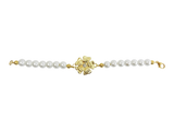 Classic Pearl Bracelet with Gold Plated Rose Charm Bracelet