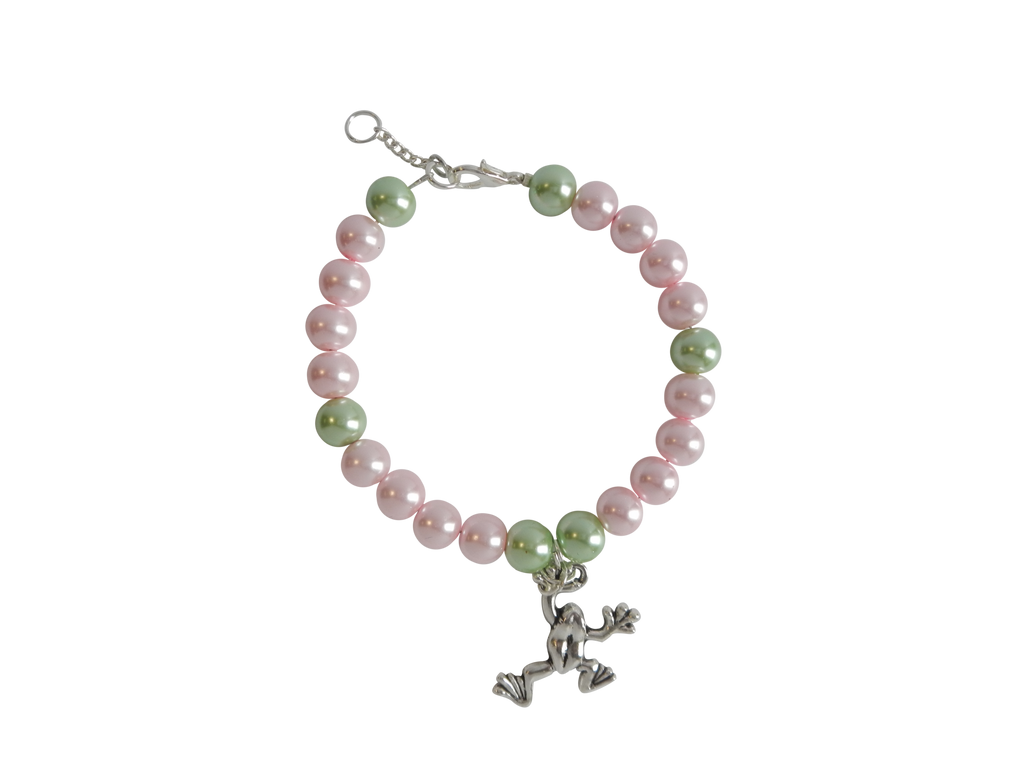 Pink & Green Pearl Bracelet with Frog Charm