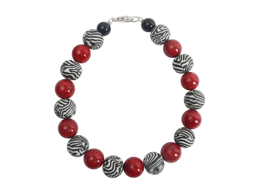 Zebra Stripe, Red, and Black Beaded Bracelet