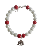 White & Red Pearl Bracelet with Elephant Charm
