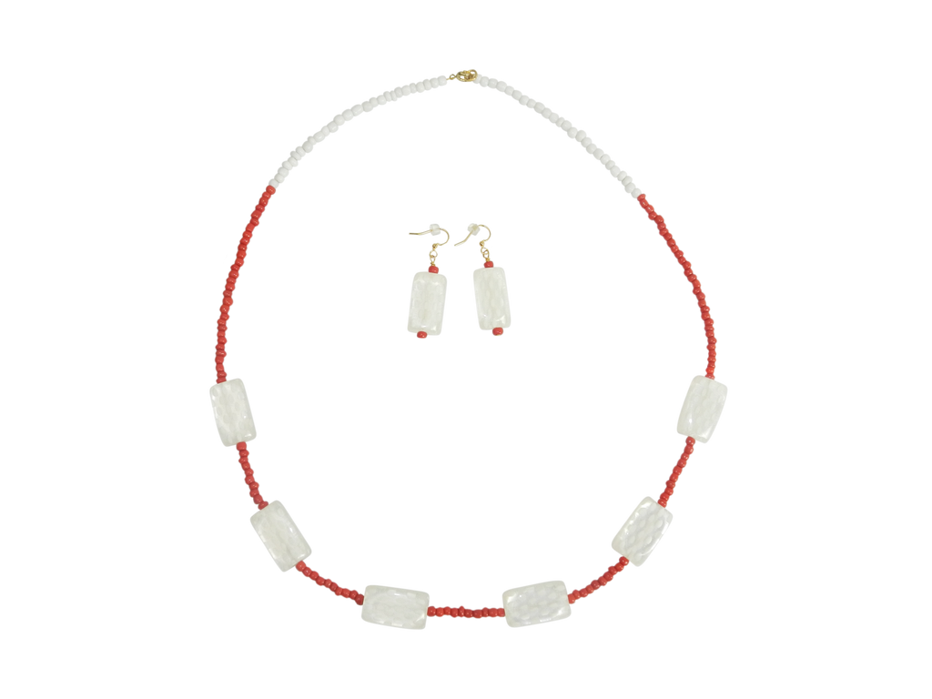 White and Red-Orange Beaded Necklace and Earrings Set