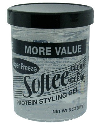 Softee Clean & Clear Super Freeze Protein Styling Gel 8 OZ