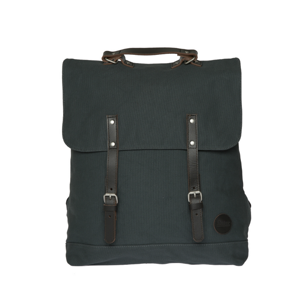 ENTER BACKPACK - ARMY GREEN AND DARK BROWN LEATHER