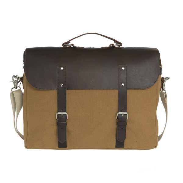 ENTER BRIEF - KHAKI CANVAS AND DARK BROWN LEATHER