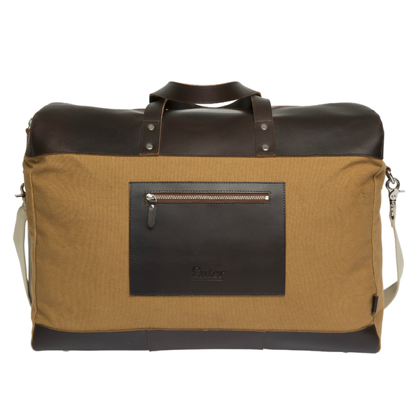 ENTER DUFFEL WEEKEND BAG - KHAKI AND DARK BROWN