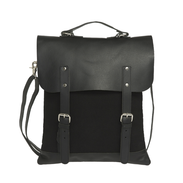 ENTER MESSENGER TOTE BAG - BLACK CANVAS AND LEATHER