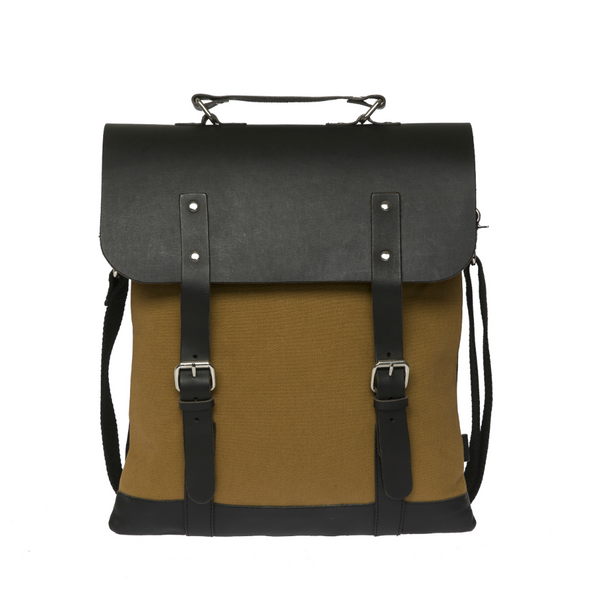 ENTER MESSENGER TOTE BAG - KHAKI CANVAS AND BLACK LEATHER