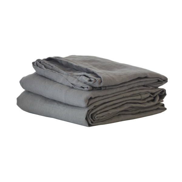 BED COVER SHEET LINEN GREY