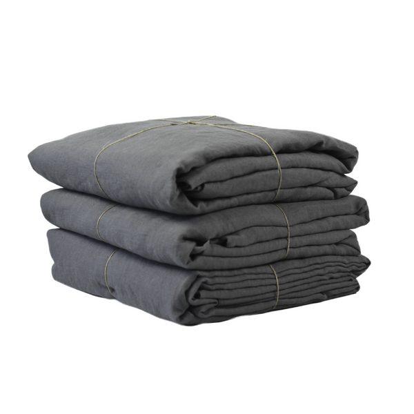 DUVET COVER LINEN - DARK GREY - 150 x 200 cm