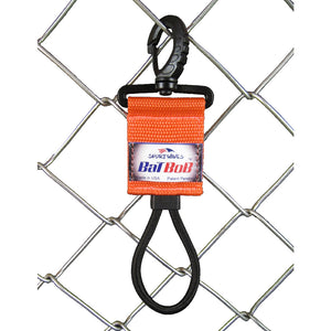 Baseball Bat Hanger clipped on chain link fence