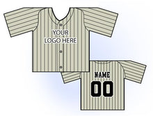 Load image into Gallery viewer, Classic Pin Stripe Mini Jersey Front and Back View Cream and Black