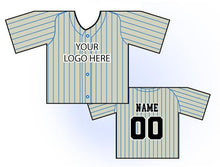 Load image into Gallery viewer, Classic Pin Stripe Mini Jersey Front and Back View Cream and Blue