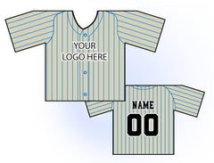 Classic Pin Stripe Mini Jersey Front and Back View Cream and Blue