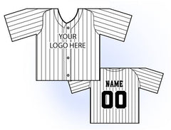 Classic Pin Stripe Mini Jersey Front and Back View White and Black