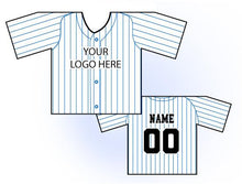Load image into Gallery viewer, Classic Pin Stripe Mini Jersey Front and Back View White and Blue