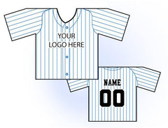 Classic Pin Stripe Mini Jersey Front and Back View White and Blue