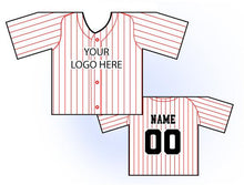 Load image into Gallery viewer, Classic Pin Stripe Mini Jersey Front and Back View White and Red