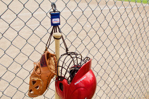 Navy Dugout Gear Hanger With Hanging Equipment