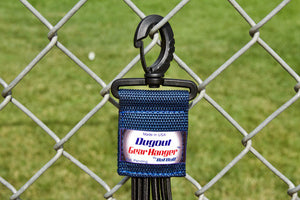 Navy Dugout Organizer On Chain Link Fence Up Close