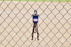 Navy Dugout Organizer On Chain Link Fence