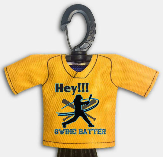 Pre Designed Mini Jersey Hey Batter Front View With Dugout Gear Hanger Athletic Gold