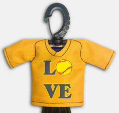 Pre Designed Mini Jersey Love Front View With Dugout Gear Hanger Athletic Gold